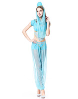 Wholesale Genie Aladdin Costumes - Cosplay Cartoon Character Costumes For Women Adult Sexy Genie Aladdin Fancy Dance Dress Sequin Top Uniforms Outfits H39169