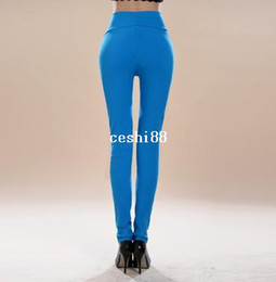 Wholesale Ladies Candy Color Pants - Free shipping Sexy lady candy color high waist pencil pants slim skinny pants womens trousers leggings 15 colors