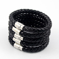 Wholesale Men S Bracelet Black - New Arrival Men`s Fashion Pu Leather Bracelets 8mm Top Quality Punk Bangle 2016 For Lady Free Shipping