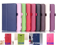 Wholesale Leather Case Galaxy Tab2 - Fold Stand Leather Smart Case With Pen Holder Auto Sleep Wake UP For Samsung GALAXY Tab 2 3 4 Tab2 P3100 Tab3 P3200 Lite T110 T116 Tab4 T230