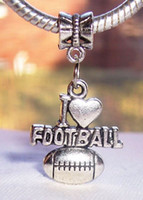Wholesale Football Dangle Charm - Hot ! 50Pcs or 140pcs Antique silver I Heart Football Sports Love Dangle Bead Fit Charm Bracelet 32.5 x 18.5 mm (143)