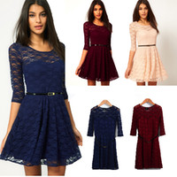 Wholesale lace skater dresses - New Women Summer Casual Dresses Sexy Spoon Neck 3 Colors 5 Sizes Three Quarter Sleeve Skater Lace Dress with belt