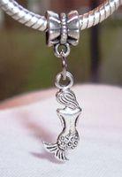 Wholesale Ocean Beads Bracelet - MIC 50Pcs or 110 pcs Antique silver Mermaid Back Ocean Siren Legend European Dangle Bead Fit Charm Bracelet 33 x 9 mm (Z226)
