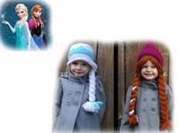 Wholesale Crochet Knit Hat Patterns - HOT SALE ! Elsa & Anna (Frozen) Crocheted Hat Pattern .knitting hat! drop shipping .hat sale.6pcs lot.