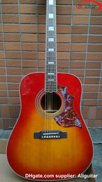 Cherry Red Acoustic Guitar W O pickups Guitar 41'' humming birds Acoustic guitar