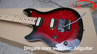 Wholesale Edward Van Halen - left-handed Wolf Guitar lefty Edward Van Halen Red Black Electric Guitar