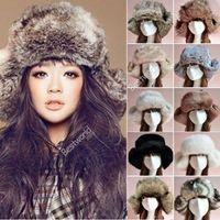 Wholesale Ushanka Men - 2014 New Fashion Style Ladies Women Mens Russian Cossack Style Faux Fur Winter Warm Ushanka Trapper Hat 11 Colors