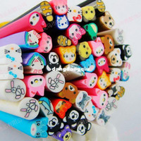 Wholesale Nail Clay Animal - Wholesale-100pcs,Animals style Nail Art Canes, fimo 3D Nail Stick Decoration Polymer Clay ,cat,bear shaped ,freeShipping