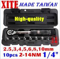"Wholesale bicycle wrench set - Taiwan XITE 1 4""DR 2-14Nm 10 piece torque wrench Bicycle wrench bycicle bike tools kit set tool bike repair spanner original wholesale"