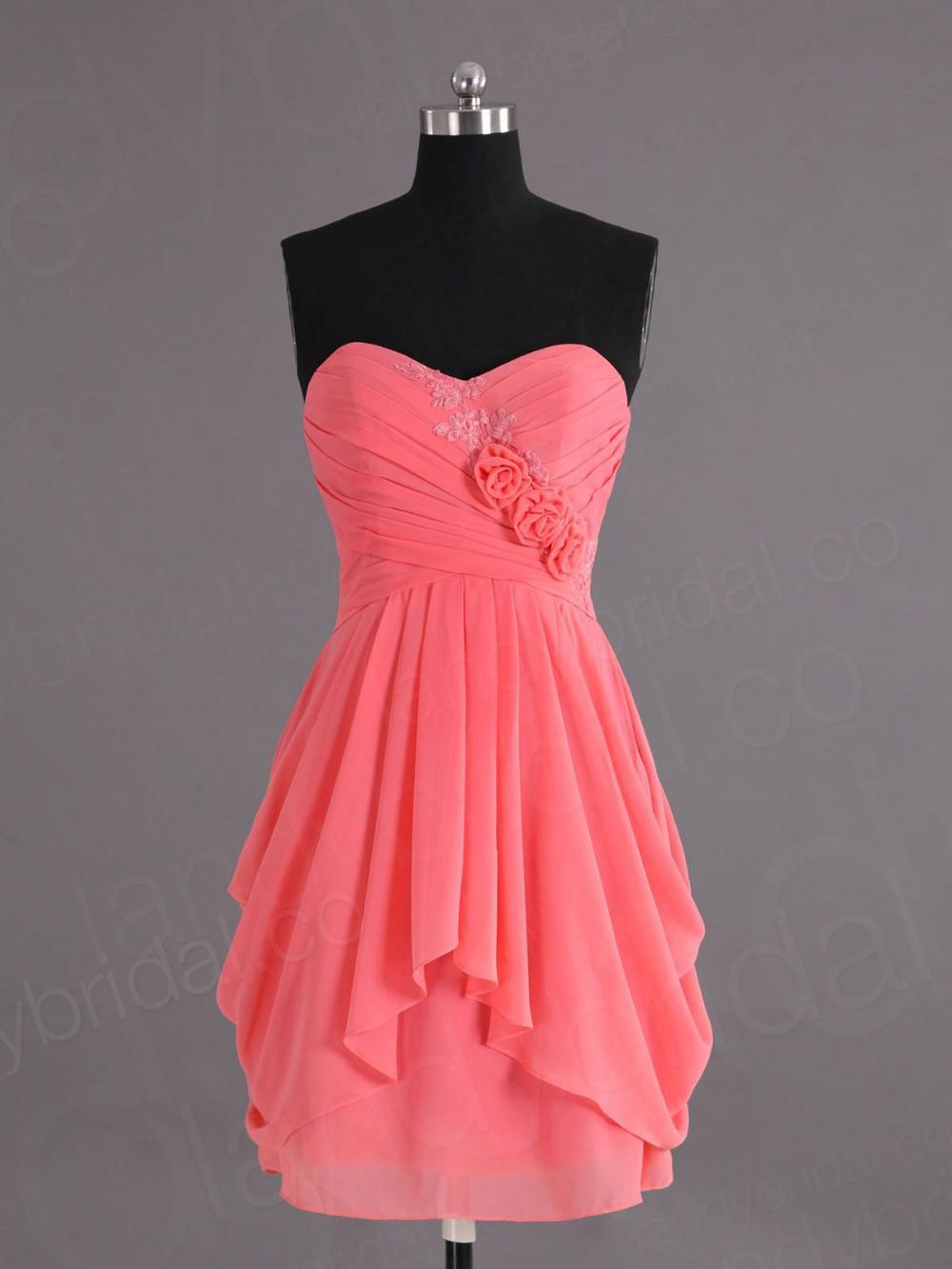 Real Sample eine Linie Schatz knielangen Chiffon Coral Brautjungfer Kleider Appliques Best Selling Homecoming Party Kleider unter 90 Dollar