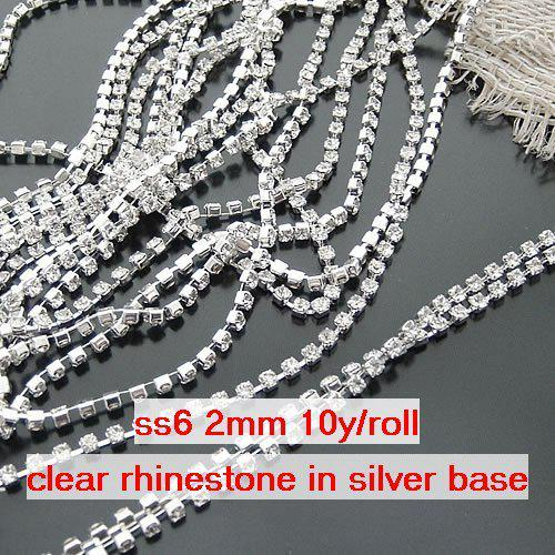 product as picture  Wholesale-ss6 2mm Single-row Metal A grade clear  Crystal Rhinestone Diamante Cup Chain 88eface6dffb