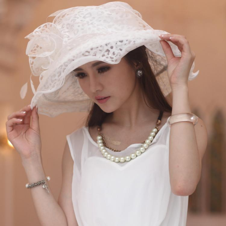 f35c3e5854b Women Organza Hat Girl Hat White Flower Wide Brim Floppy Ruffle Wave Brim  Floppy Ruffle Organza Wide Brim Hats Bucket Hats From Junesyounghats