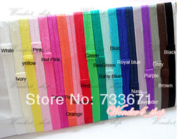 Wholesale Flexible Headbands - Free Shipping 60pcs lot 1.5*38cm Stretchy elastic headbands with loop Baby Girls flexible Shimmery Satin hair accessory xth093