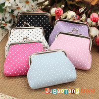 Wholesale Small Fabric Coin Purse - Vintage Small dots Floral Flower Print coin purse canvas key holder wallet hasp small gifts bag clutch handbag 12 pcs lot