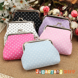 Wholesale Small Gift Flower - Vintage Small dots Floral Flower Print coin purse canvas key holder wallet hasp small gifts bag clutch handbag 12 pcs lot