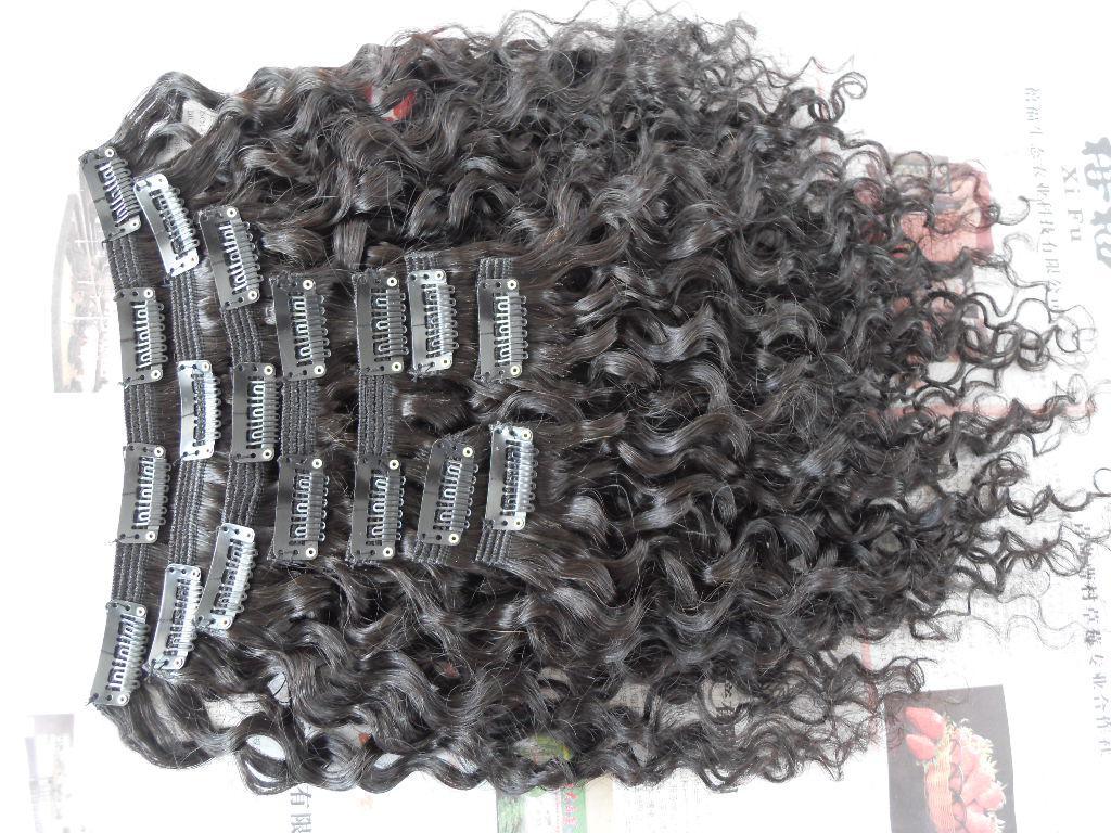 새 스타일 브라질 처녀 물 파도 머리 위사 클립 처리되지 둥근 자연 검은 색 인간의 확장에 염색 수 있습니다.