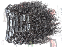 Wholesale Curly Dye Colors - new style brazilian virgin water wave hair weft clip in unprocessed curly natural black color human extensions can be dyed