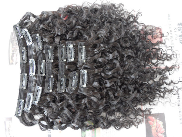 top popular new style brazilian virgin water wave hair weft clip in unprocessed curly natural black color human extensions can be dyed 2019