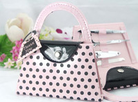 Wholesale Purse Favors - nail art kit,hot Pink Polka Dot Purse Manicure Set,nail cutter,nail trimmer,wedding gift favor bridal shower favors and gifts #Z82