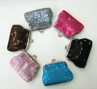 Wholesale Tartan Coin Purses Wholesale - European and American style Sequins elements coin purse key holder wallet hasp small gifts bag clutch handbag 12 pcs lot