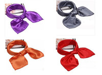 Square solid rayon silk polyster Neck scarf Scarves 50*50cm ...