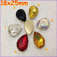 Wholesale Sew Rhinestones 18x25mm - 72pcs lot 18x25mm Pear Shape Crystal Fancy Stone with Plating Gold Color Claw Setting Sew On Rhinestones