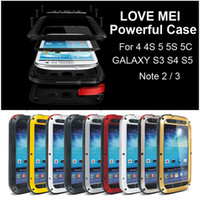 Wholesale Love Mei Case S4 - LOVE MEI Powerful Metal Case for iPhone 4 4S 5 5S 5C GALAXY S3 S4 S5 Note 2 3 Armor Shockproof Dropproof Dirtproof Heavy Duty Cover DHL
