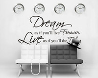 DIY murale rêve As If You Will Live Forever Lettre PVC Parole amovible Vinyl Art Wall Sticker Decal Wallpaper Décoration 80x40cm