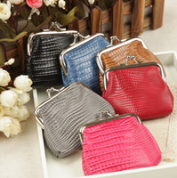 Wholesale Wholesale Leather Business Gifts - Vintage Animal lizard grain PU Leather coin purse key holder wallet hasp small gifts bag clutch handbag 12pcs lot