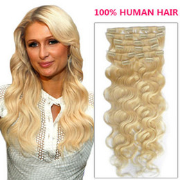 """Wholesale Blonde Deep Wave Remy Extensions - Oxette 15""""-24"""" #613 Clip in Hair Extensions Human bleach blonde Remy Quality silky soft Straight or body wavey Clip on Hair Extensions"""