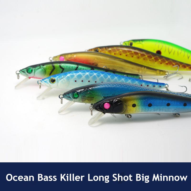 Ocean Bass Fishing Minnow Lure Bait 14cm 23g Long Shot Sinking Big Game Esche artificiali esche dure
