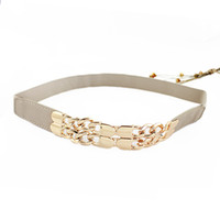 Wholesale Elastic Chain Belt - New Arrival Beige Black Alloy Elastic Ribbon Alloy Gold Color Loop Anchor Chain Buckle Summer Cummerbunds Belts For Women