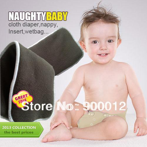 top popular Free Shipping Naughty Baby Charcoal Bamboo 100pcs 4 Layers(2+2) For Washable Baby Cloth Diaper pads Nappy Inserts 2020
