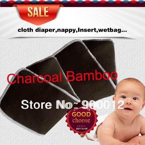 Freies Verschiffen-freches Baby-Holzkohlen-Bambus 4 Schichten 2 + 2 für waschbare Baby-Tuch-Windelauflagen Windel-Einsätze