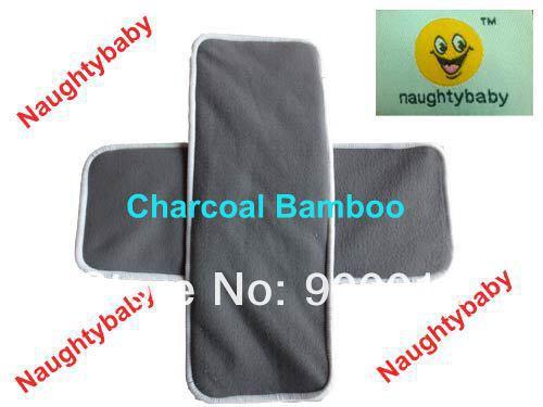 Gratis frakt Naughty Baby Charcoal Bamboo 4 lager 2 + 2 för tvättbara baby tyg blöja kuddar blöja insatser