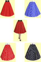 Wholesale Polka Dots Retro Dress - Free shipping Retro 50s Underskirt Swing Vintage Petticoat R1108 Lady Polka Dot Fitted rockabilly Dress petticoat skirt