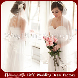 Wholesale Ivory Hats Veils - Unique Newest Bridal Veil Hats Style Two Layer Ankle Length Lace Edge Brides Veils with Flowers for Wedding Party