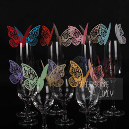 Wholesale Cheap Glass Wine Glasses Wholesale - Cheap Wine Glass Cards Wedding Party Decorations Wine Glass Markers Wedding name card laser Cut Card Escort Card table marker B002