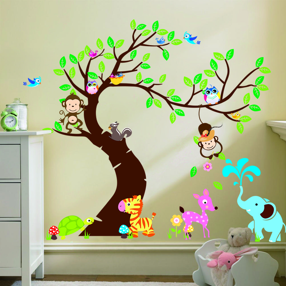 Large Size Forest Park Tree Animals Giraffe Owl Lion Wall Stickers - Wall stickers for kids