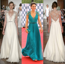 Wholesale Kate Middleton Lace Green - 2016 Evening Gowns Lace Chiffon Kate Middleton In Jenny Packham Deep V neck With Capped Short Sleeves Sheer Back Celebrity Dresses Teal Blue