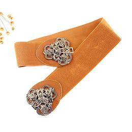Wholesale Elastic Belt Flowers - Elegant Fashion Women Decorate Belt Vintage Gold Color Flower Metal Hollow out Buckle Lady's Elastic Waist Wide Belt