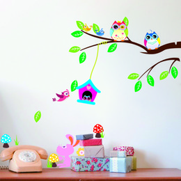 Wholesale Nature Babies - Free Shipping So Cute Owl Cartoon Wall Stickers Animal Paradise Nursery Decals Baby Room Wall Decor