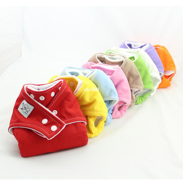 best selling New BABY CITY One Size Cloth Snap Diapers 2PCS Reusable Washable Cloth diaper Nappy covers 9Colors+8PCS insert