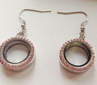 Wholesale Glass Locket Earrings - 3Pairs=6pcs 20mm NEW Silver locket earrings magnetic glass floating charm locket Zinc Alloy+Rhinestone
