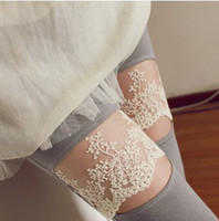 Wholesale Leggings Lace Opening - Fashion embroidery lace open smile thin models wholesale cotton leggings pantyhose