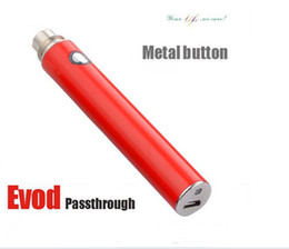 Wholesale E Cigarette Ego Passthrough - EVOD battery Micro USB passthrough battery with 650 900 1100mah capacity e-cigarette ego passthrough battery bottom e cigarette atomizer