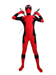 Rojo Negro Zentai Baratos-Red Deadpool negro Spandex Deadpool traje Halloween Cosplay partido Zentai Deadpool traje