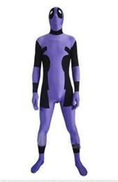 Wholesale kids deadpool costumes - deadpool-Purple & Black Spandex Deadpool Costume Halloween Cosplay Party Zentai Deadpool Suit