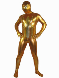 Barato Fantasia De Super-heróis Pvc-Golden Spiderman brilhante metálico Superhero Costume Halloween Cosplay Partido Zentai Suit