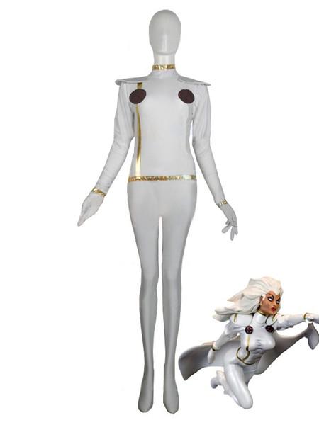 Beyaz X-men Fırtına Spandex Superhero Kostüm Cadılar Bayramı Cosplay Parti Zentai Sui